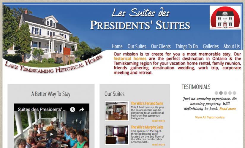 Presidents' Suites first web site back in 2010. / Premier site web des Suites des Présidents.