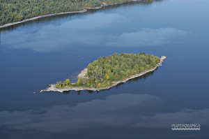 Aerial view of Farr Island owned by the Presidents' Suites in Haileybury. The island is on Lake Temiskaming.