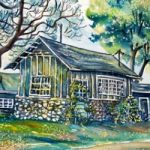 Cabin at Beach Gardens, watercolour by Laura Landers