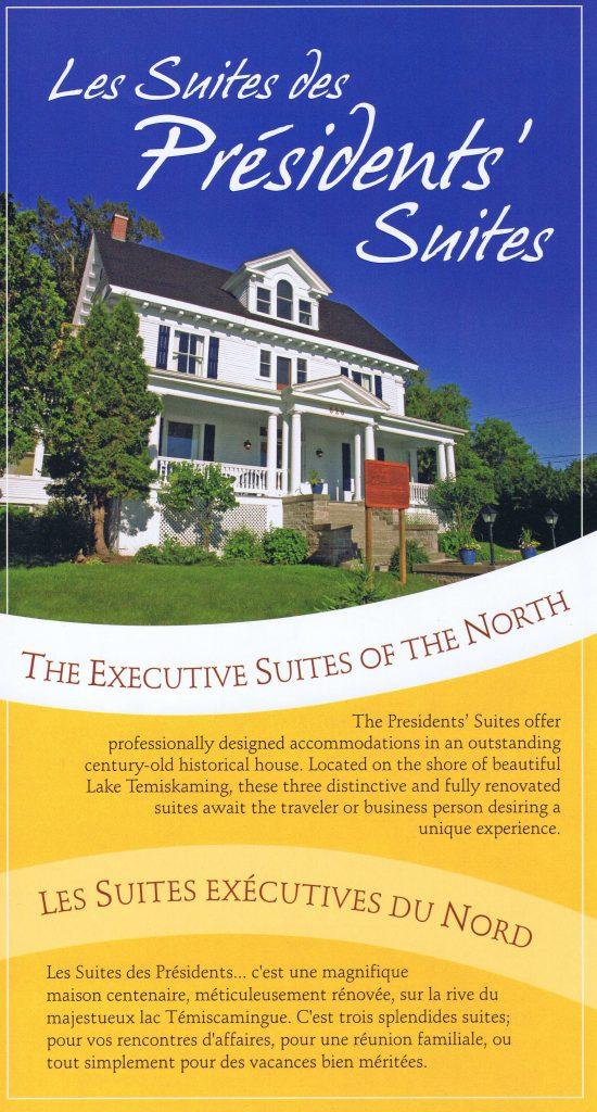 First marketing brochure of the Presidents' Suites - Première brochure promotionnelle des Suites des Présidents